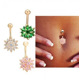 Crystal Rhinestone Belly Button Ring Dangle Navel Body Jewelry Piercing Tool Green