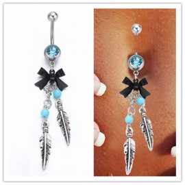 Sexy Navel Belly Button Bar Ring Barbell Rhinestone Crystal Ball Body Piercing Jewelry Silver & Blue