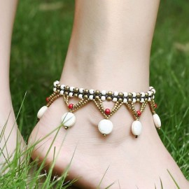 Vintage Turquoise Beads Braided Rope Copper Bell Anklet White