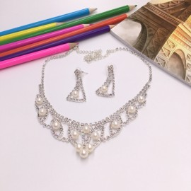 Stylish Rhinestone Pearl Necklace Earrings Bridal Jewelry Set TZ13 Silver