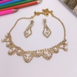 Stylish Rhinestone Pearl Necklace Earrings Bridal Jewelry Set TZ9 Golden
