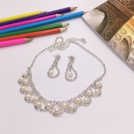 Stylish Rhinestone Pearl Necklace Earrings Bridal Jewelry Set TZ8 Silver