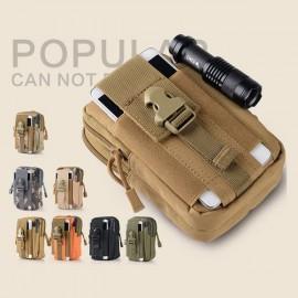 Portable 1000D Waterproof Oxford Pockets Buckle & Zipper Closure Men's Military Tactical Waist Bag for Outdoors Khaki