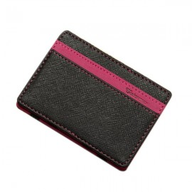 PU Leather Magic Wallet Money Clip Card Holder Business Purse Rose Red