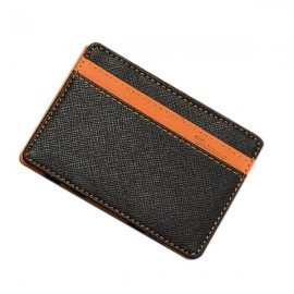 PU Leather Magic Wallet Money Clip Card Holder Business Purse Orange