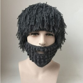 Handmade Wig Beard Hat Hobo Mad Scientist Rasta Caveman Winter Knit Warm Hat Gray