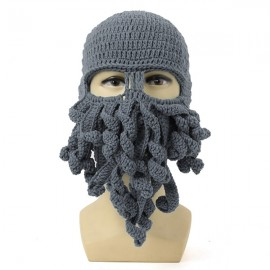 Unisex Winter Warm Knitted Crochet Wool Ski Face Mask Octopus Squid Cap Beanie Hat Gray