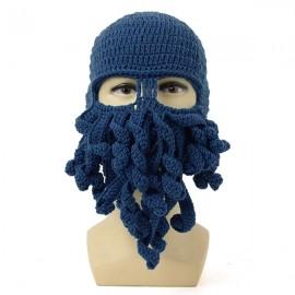 Unisex Winter Warm Knitted Crochet Wool Ski Face Mask Octopus Squid Cap Beanie Hat Navy
