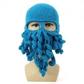 Unisex Winter Warm Knitted Crochet Wool Ski Face Mask Octopus Squid Cap Beanie Hat Sky Blue