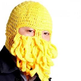 Unisex Winter Warm Knitted Crochet Wool Ski Face Mask Octopus Squid Cap Beanie Hat Yellow