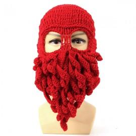 Unisex Winter Warm Knitted Crochet Wool Ski Face Mask Octopus Squid Cap Beanie Hat Red