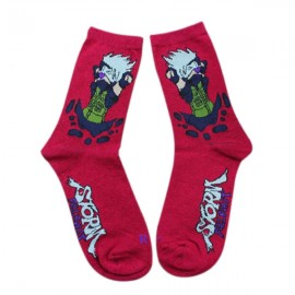 Naruto Cartoon Series Kakashi Pattern Combed Cotton Autumn and Winter Socks for Men Red
