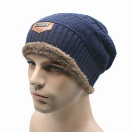Men's Winter Camping Ski Hat Beanie Baggy Warm Wool Knitted Cap Navy