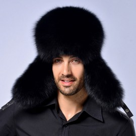 Winter Men Real Silver Fox Fur Lei Feng Cap with Leather Black