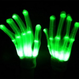 CUnisex Colorful LED Gloves Rave Light Finger Lighting Flashing Gloves Skeleton Gloves Green