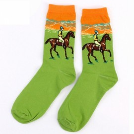 Fashion Creative Vintage Retro Painting Art Socks Casual Cotton High Dress Socks - #15