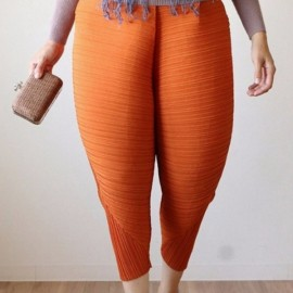 Large Size Women's Elastic Fried Chicken Pants - Orange & S