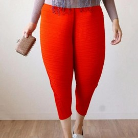 Large Size Women's Elastic Fried Chicken Pants - Red & XL