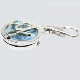[Clearance] Metal Letter Y Design Quartz Pocket Watch Keychain Blue