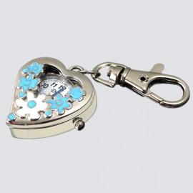 Sweet Heart Flower Quartz Pocket Watch Keychain Blue
