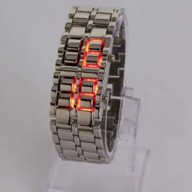 Fashion Elegant Lava Red Digital Display LED Steel Band Wrist Watch Silver