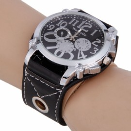 Fashion Men Women WOMAGE 9150 Three Artificial Eyes Stainless Steel Dial Quartz Wrist Watch Black