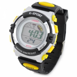 Boys Girls K-SPORT F45 Sport Alarm Waterproof Rubber Band Quartz Digital Wrist Watch Yellow Black