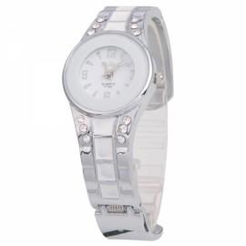 Women's Beautiful Decorative Half-Open Analog Quartz Wrist Watch White