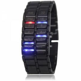 Men Women Alloy Lava Style Colorful Digital LED Light Wrist Watch Black
