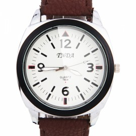 Men Women Black Edge Leather Band Quartz Wrist Watch Coffee