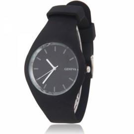 Men Women GENEVA Round Dial Alloy Case Silicone Band Sport Quartz Wrist Watch Black
