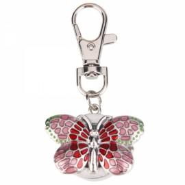Butterfly Shaped Women Ladies Round Dial Digital Quartz Pocket Key Ring Watch Pink