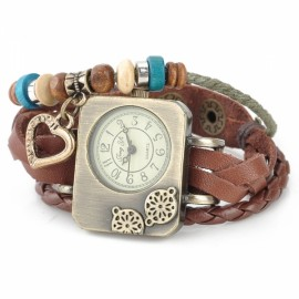 Retro Braided Split Leather Band Rectangle Dial Analog Woman Bracelet Watch Brown & Bronze (1 x AG4)