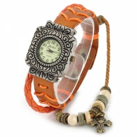 Engraving Square Dial Zinc Alloy Casing Braided Leather Band Woman Bracelet Wrist Watch Orange & Bronze