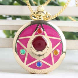 Colorful Anime Sailor Moon Series Women Lady Girl Quartz Pocket Watch Star Pattern