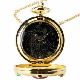 Colorful Anime Sailor Moon Series Women Lady Girl Quartz Pocket Watch Moon Pattern