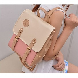 Korean Style Contrast Color PU Backpack School Bag Beige & Pink