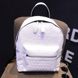 Korean Style Pure Color Alligator Texture Double Shoulders PU Backpack White