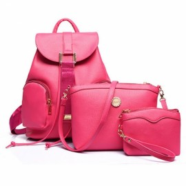 3-Piece Newfashioned Embossing Grain Double Pockets Double-shoulder PU Backpack with Two Bags Rose Red