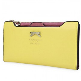 Women Bowknot Solid Color Hasp Zipper Horizontal Long Wallet Yellow