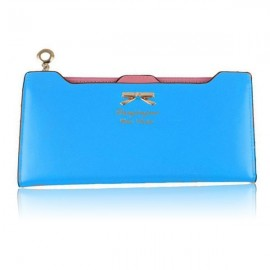 Women Bowknot Solid Color Hasp Zipper Horizontal Long Wallet Cambridge Blue