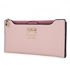 Women Bowknot Solid Color Hasp Zipper Horizontal Long Wallet Pink