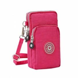 Multifunctional Three Layers Storage Bag Phone Bag Handbag Wrist Bag Rose Red