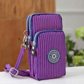 Multifunctional Three Layers Storage Bag Phone Bag Handbag Wrist Bag Purple Vertical Stripes
