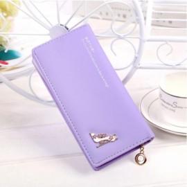Women Girl High Heels Slim Coin PU Leather Purse Wallet Card Holder Handbag Purple