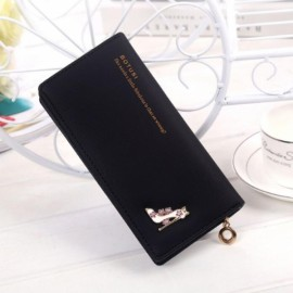 Women Girl High Heels Slim Coin PU Leather Purse Wallet Card Holder Handbag Black