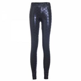 Sexy Women Holographic Mermaid Fish Scale Style Metallic Geometric Stretch Leggings Black & Blue XXL