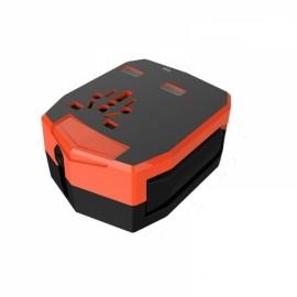Multifunctional Universal Armour Dual USB Ports Car Charger Adapter with US/EU/AU/UK Plugs Orange