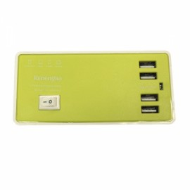 4-USB 4A 100-240V USB Charging Socket with Charging Cable EU Plug Green