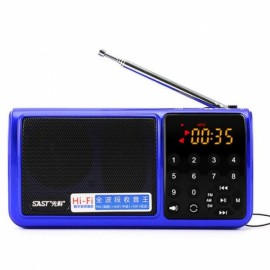 SAST N520 Full Band AM FM SW Radio Mini TF USB MP3 Speaker Portable LED Flashlight Blue